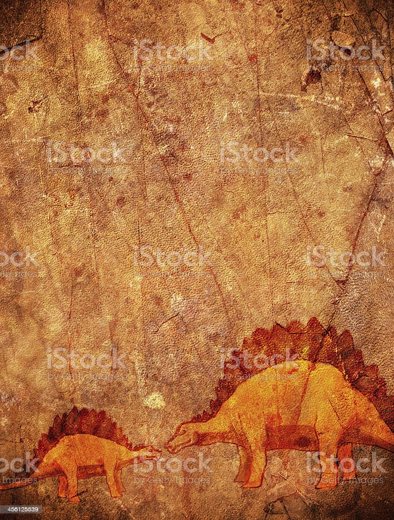 prehistoric background with dinosaur and copyspace vector art illustration