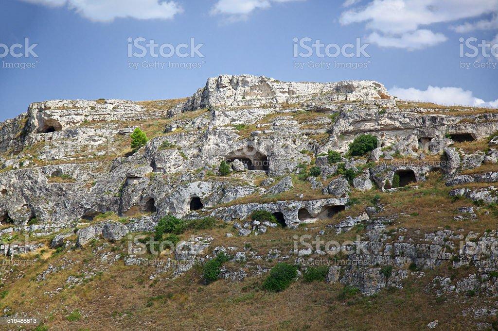 Prehistoric caves of Murgia Timones in Matera. Italy. stock photo