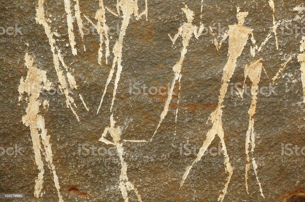 Prehistoric Neolithic African rock art stock photo