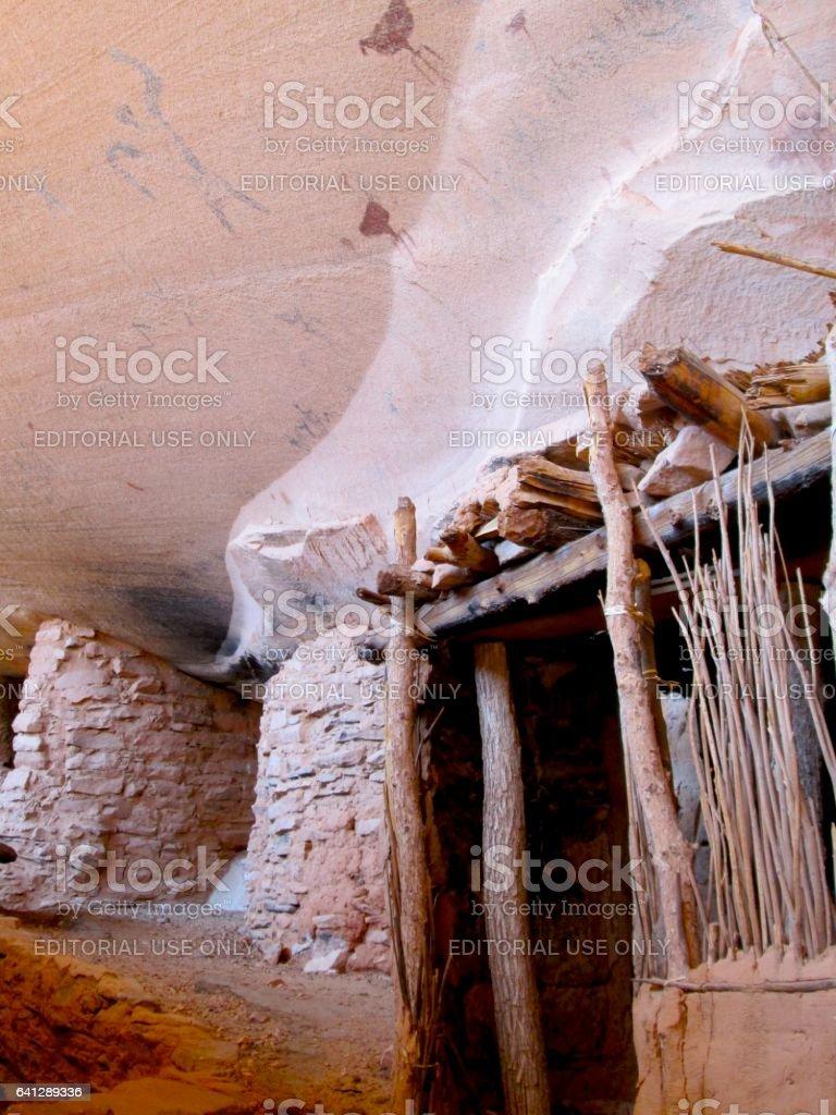 Prehistoric Puebloan Structure and Rock Art stock photo