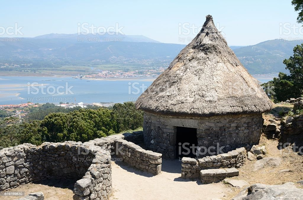 Prehistoric reconstructed house stock photo