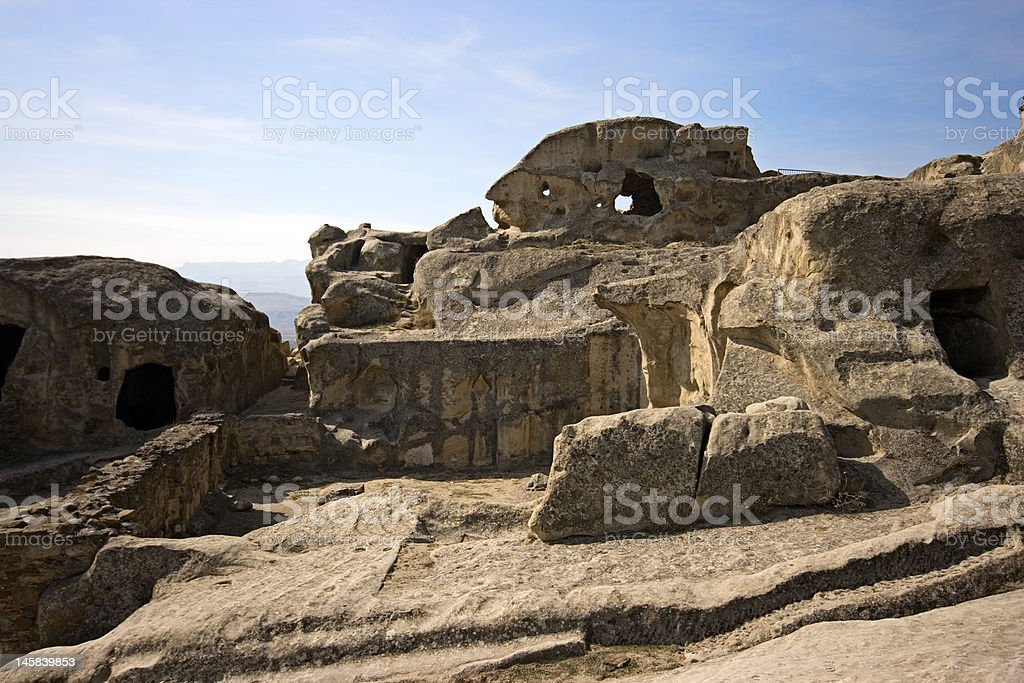 Prehistoric ruins of cave-dwelling royalty-free stock photo