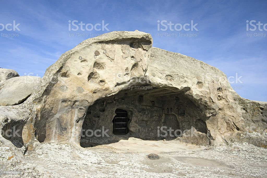 Prehistoric ruins of cave-dwelling stock photo