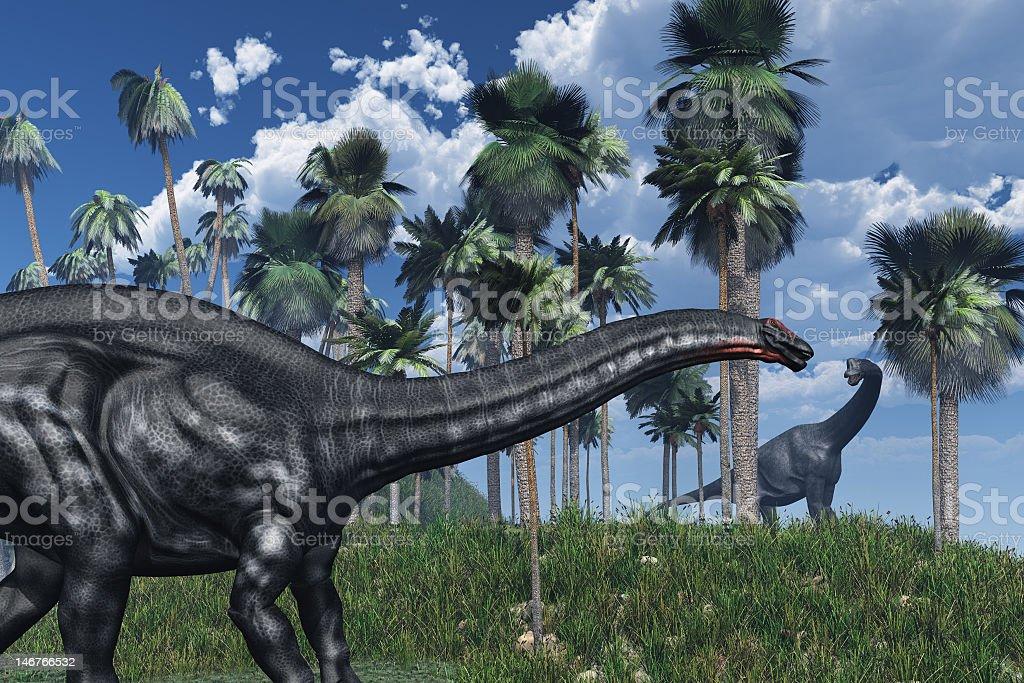 Prehistoric Scene with Dinosaurs stock photo