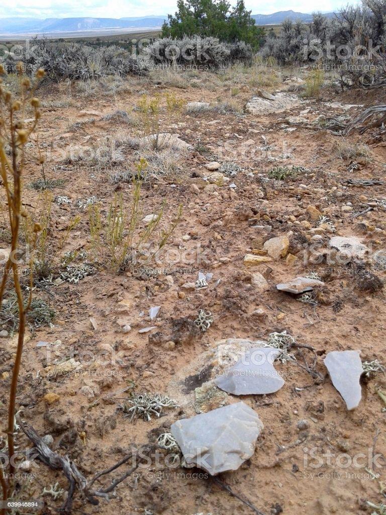 Prehistoric Stone Tool Artifact Scatter stock photo