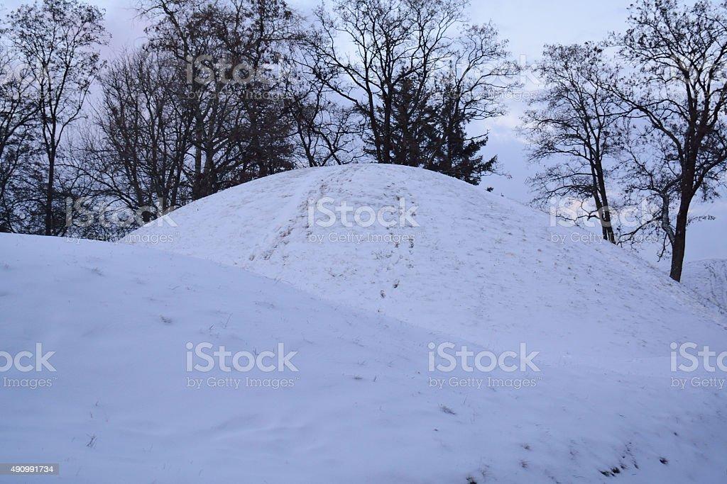 prehistoric tomb hill on the Boldina gora, Chernihiv stock photo