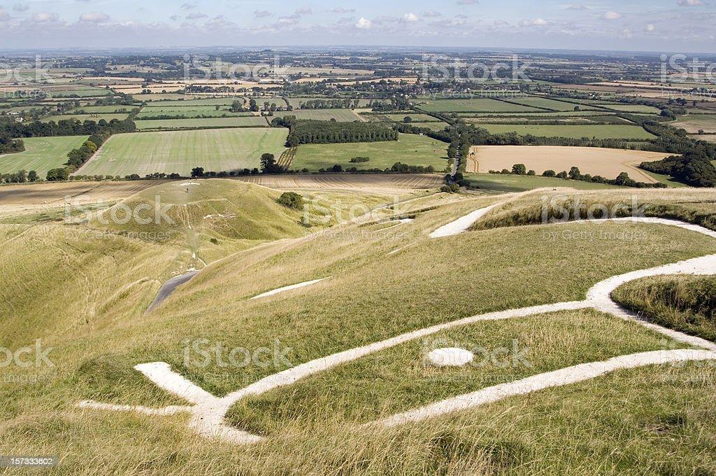 Prehistoric Uffington White Horse, England royalty-free stock photo