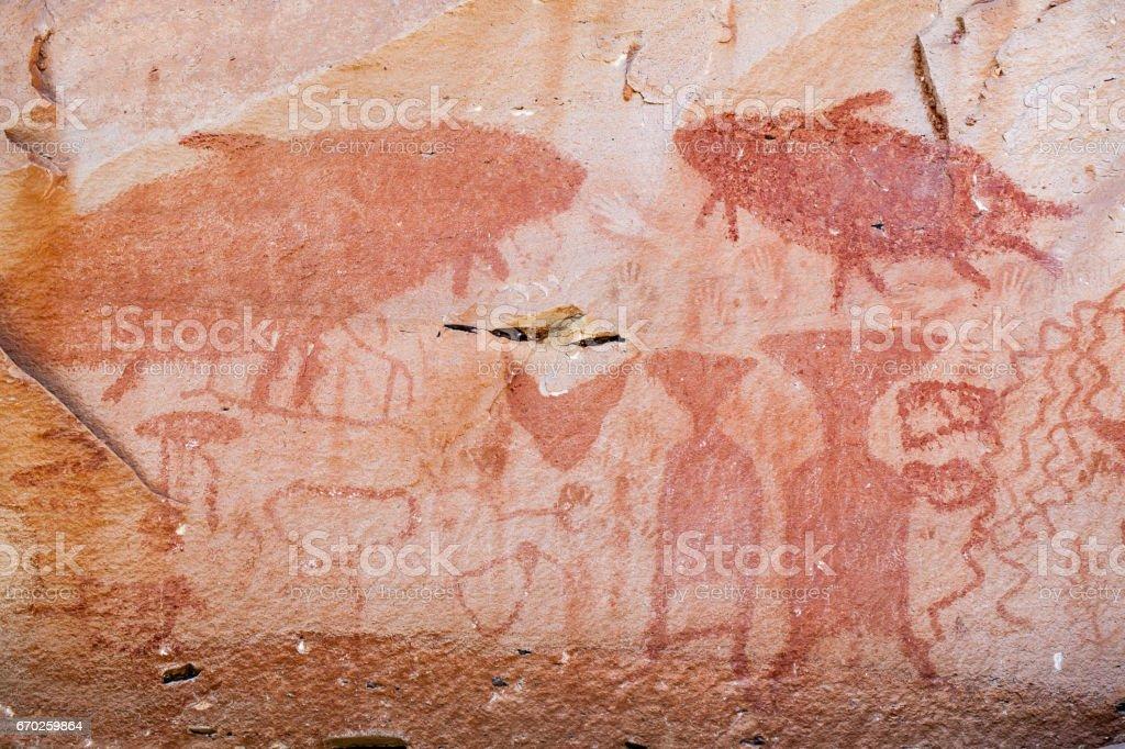 Pre-historical painting at Pha Tam National Park, Ubon Ratchathani, Thailand stock photo