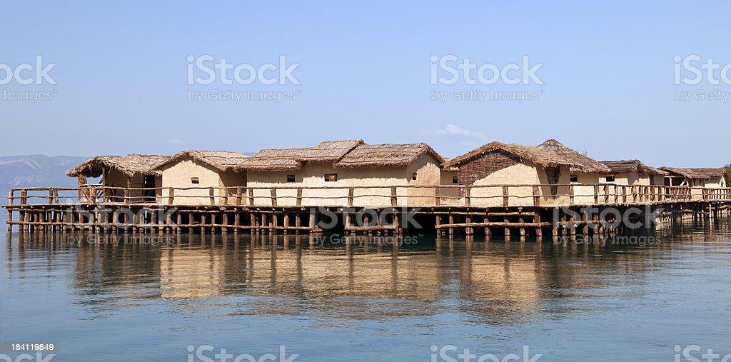 Prehistorical Palafitte Settlement in Macedonia stock photo