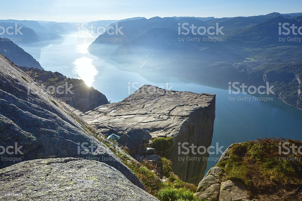 Preikestolen massive cliff top (Norway) stock photo