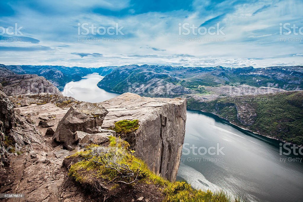 Preikestolen or Prekestolen stock photo