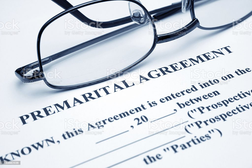 Premarital agreement stock photo