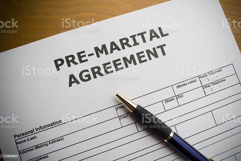 Pre-marital agreement stock photo