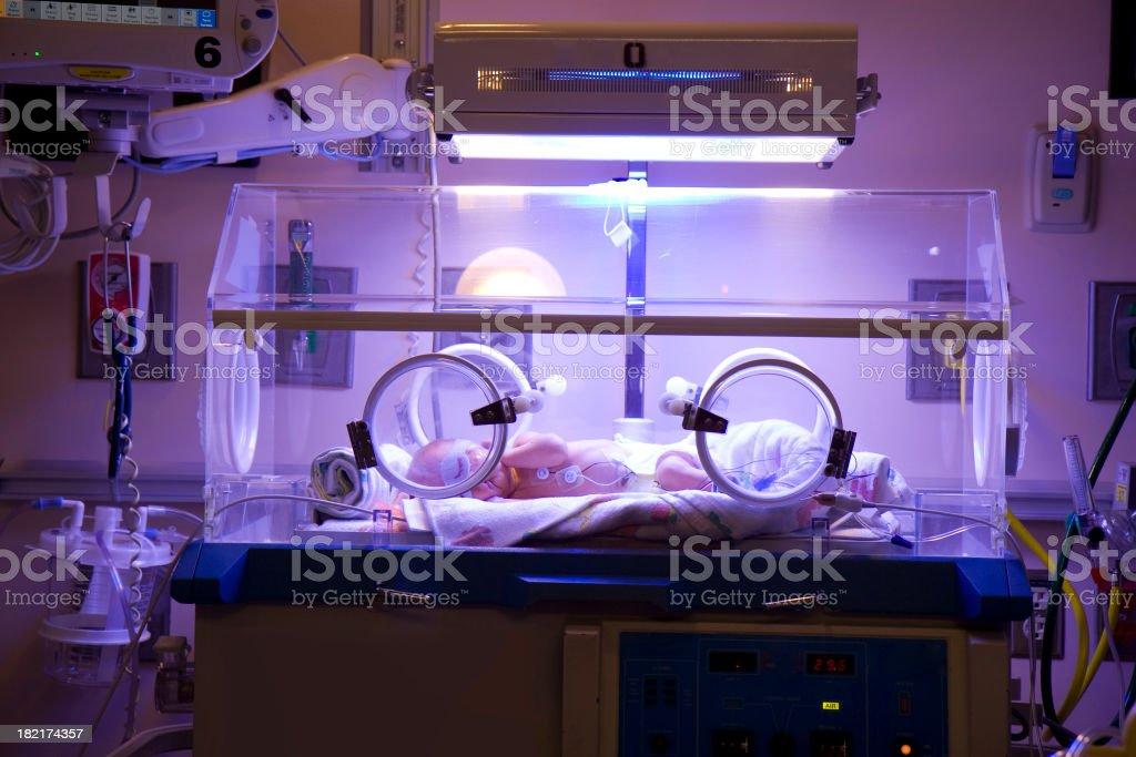 Premature Infant in Intensive Care stock photo