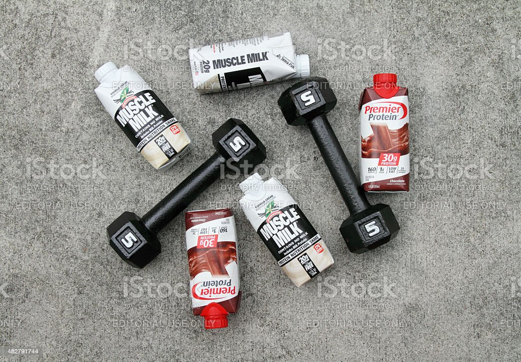 Premier Protein and Muscle Milk Energy Drink Milkshakes stock photo