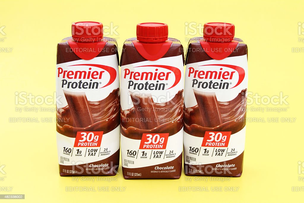 Premier Protein Energy Drink Milkshakes stock photo