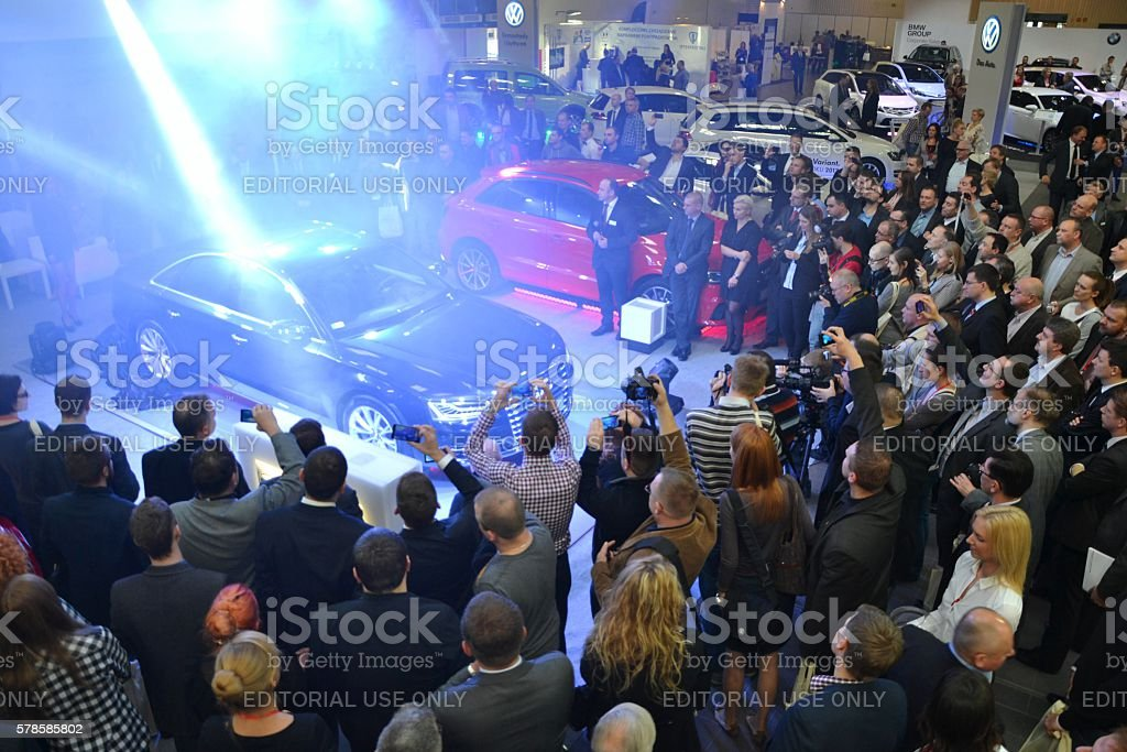 Premiere of the luxury vehicle on the motor show stock photo