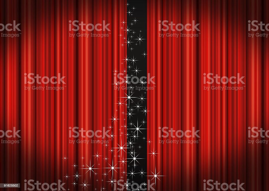 Premiere time with red curtains and glistening opening stock photo