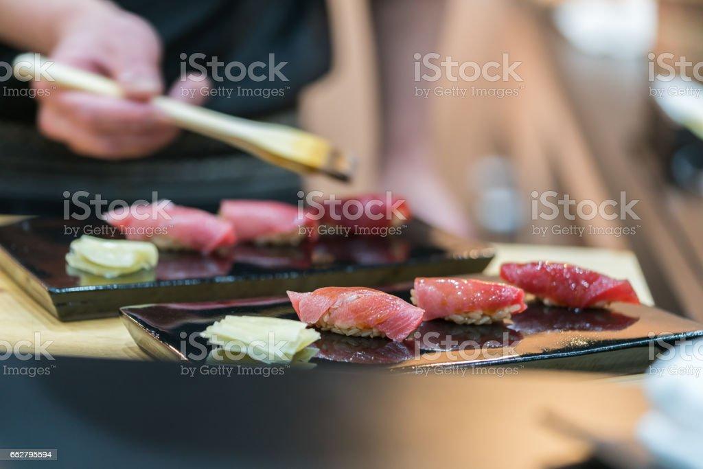 Premium Akami and Chutoro Sushi (Tuna Sushi) stock photo