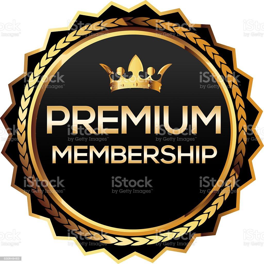 Premium membership gold badge stock photo