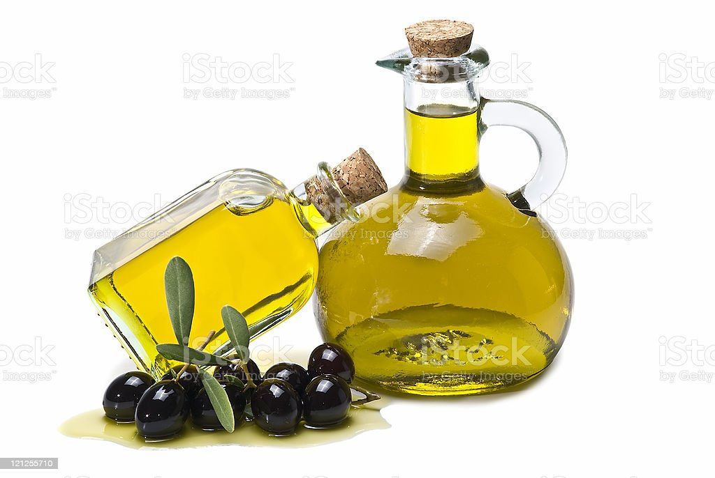 Premium olive oil and black olives. stock photo