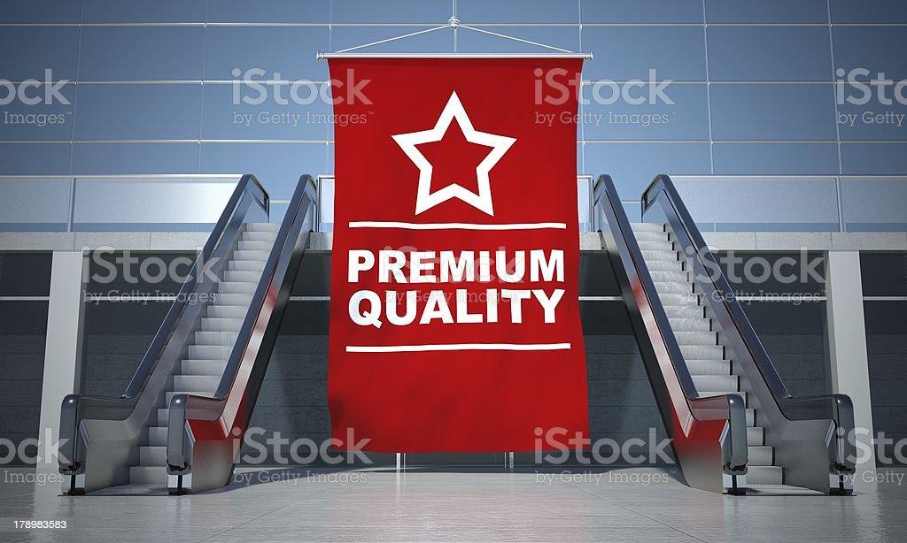 Premium quality advertising flag and escalator royalty-free stock photo
