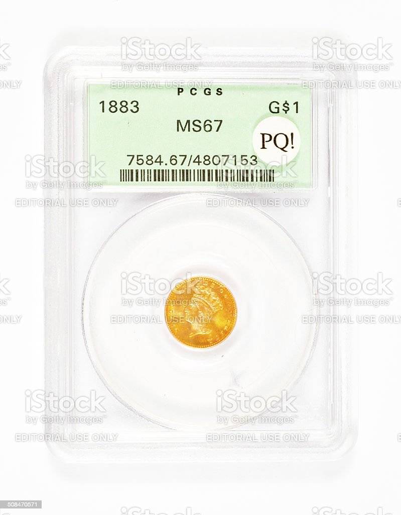 Premium Quality Graded Gold Coin stock photo