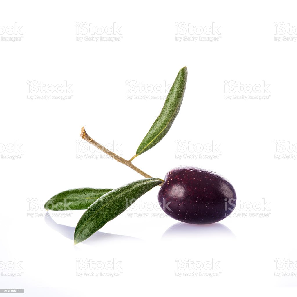 Premium raw olive on a white background stock photo