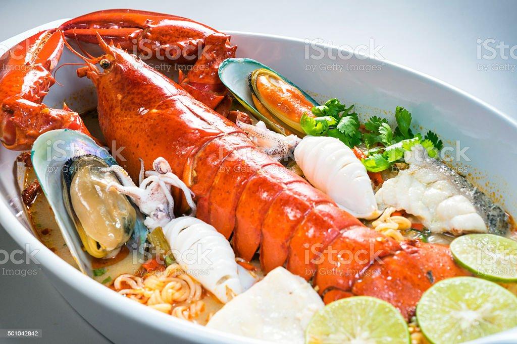 Premium Spicy Lobster shrimp noodle stock photo