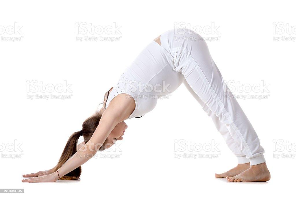 Prenatal Yoga, Downward facing dog yoga pose stock photo
