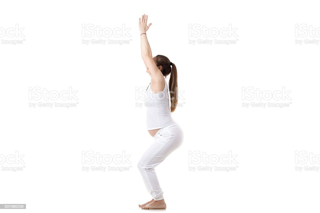 Prenatal Yoga, Utkatasana stock photo