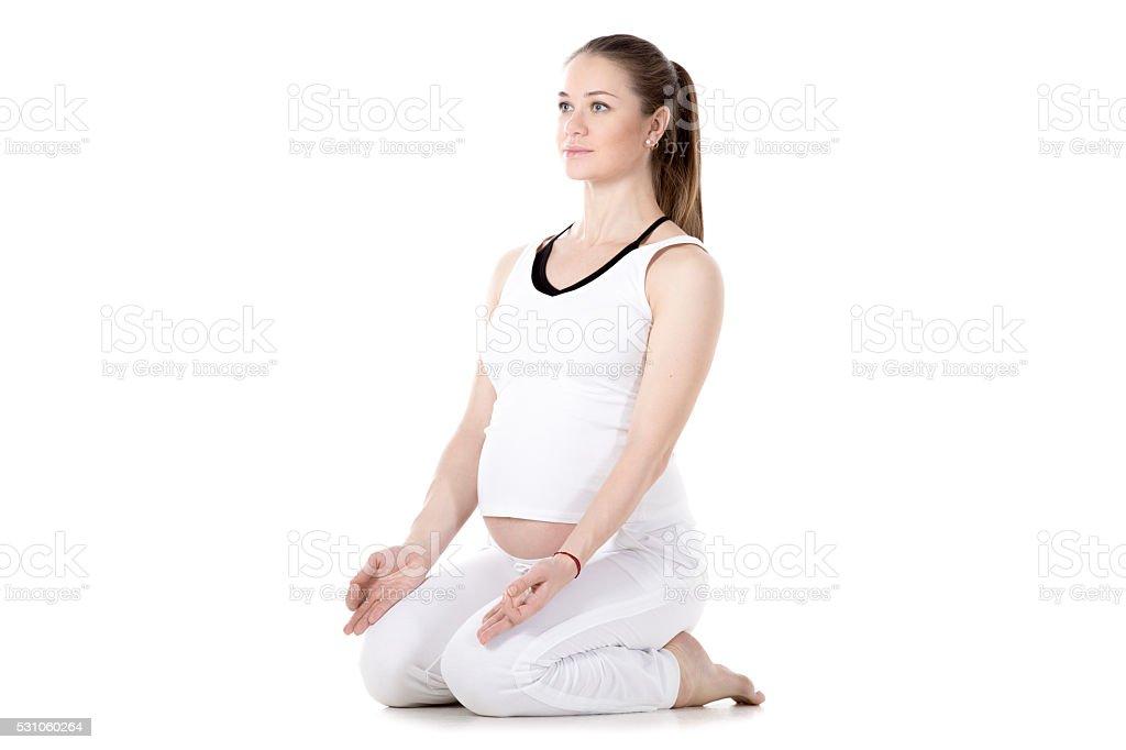 Prenatal Yoga, Vajrasana stock photo