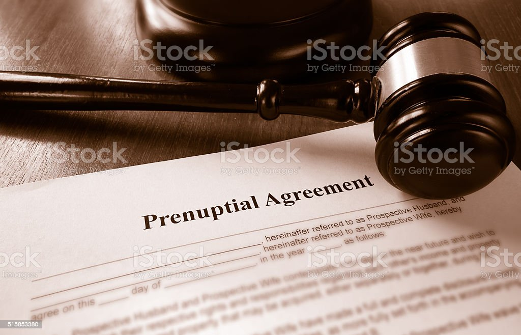 Prenup agreement and gavel stock photo