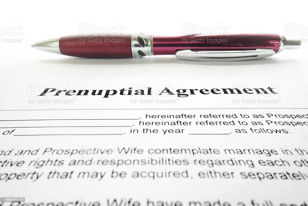prenup agreement stock photo