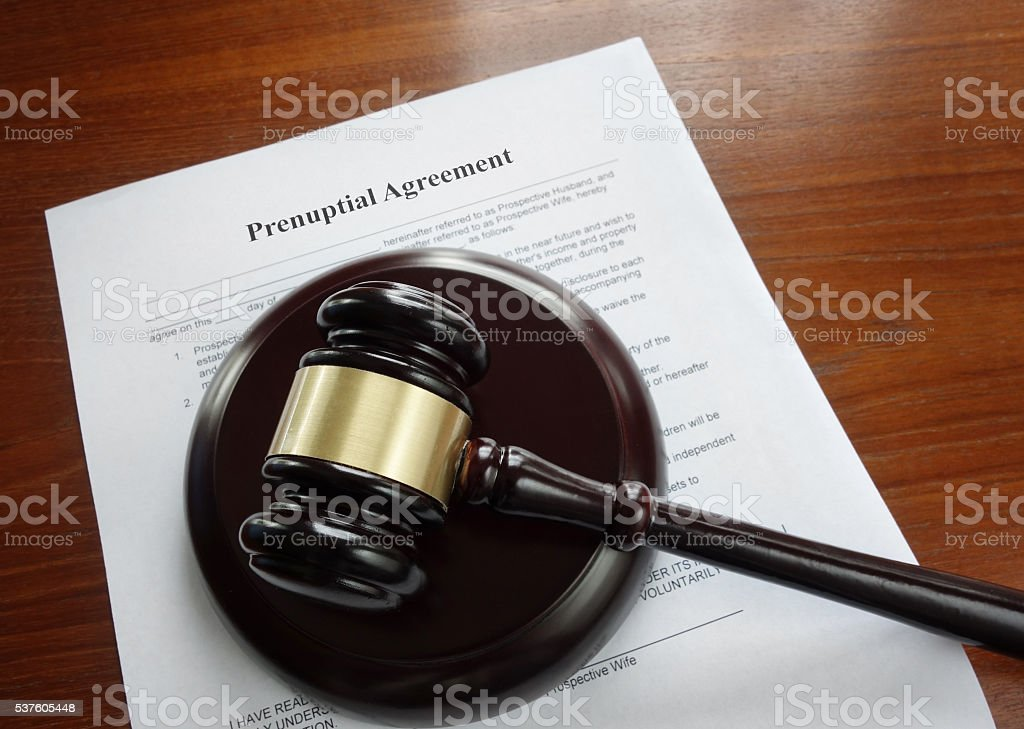 Prenup and gavel stock photo