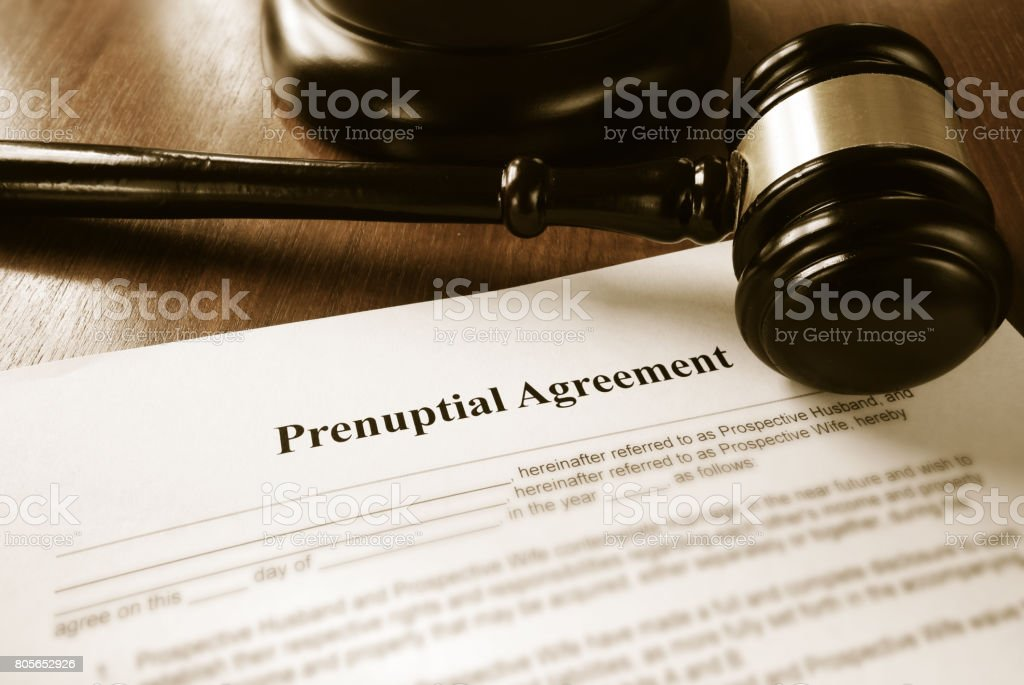 Prenup contract stock photo