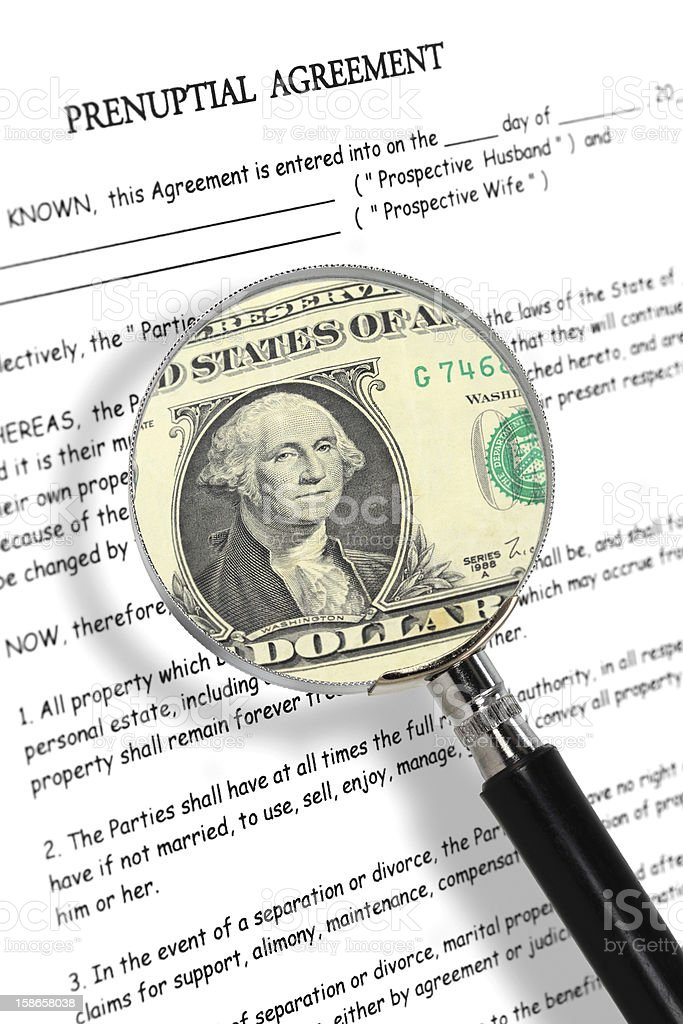 Prenuptial agreement, magnifying glass and dollar note stock photo