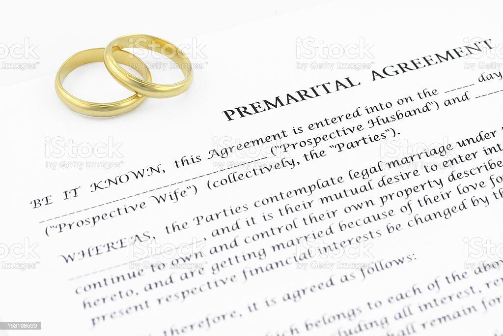 Prenuptial ( premarital ) agreement stock photo
