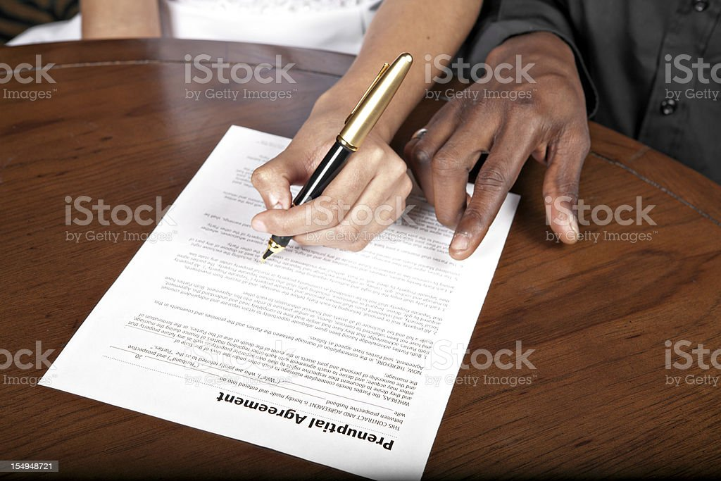 Prenuptial agreement stock photo