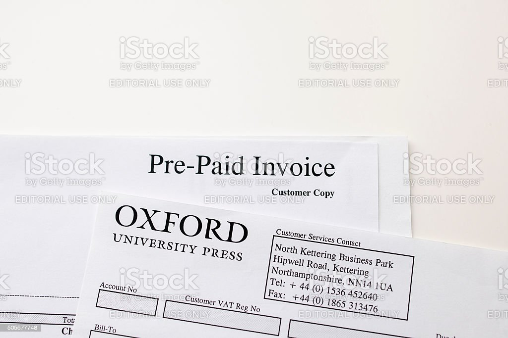Pre-Paird invoice from the Oxford University stock photo