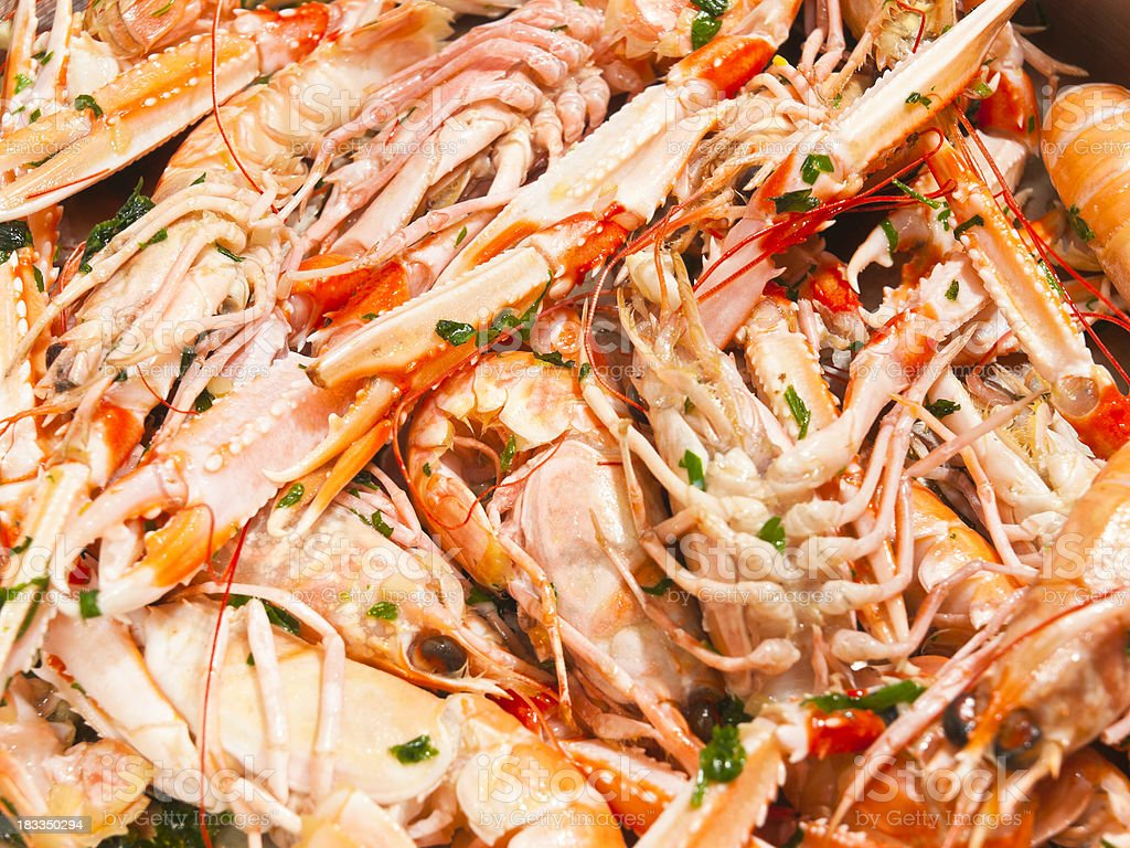 Prepaired norway lobster stock photo