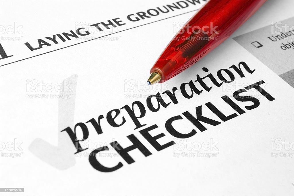 Preparation Checklist royalty-free stock photo