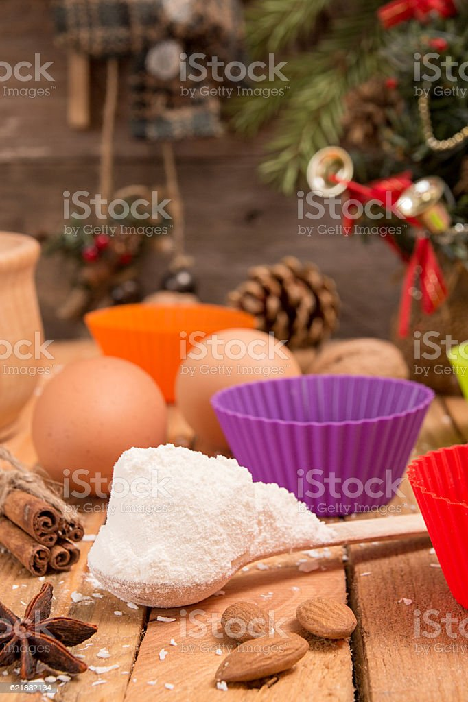 Preparation Christmas New Year sweeties. Ingredients and holiday stock photo