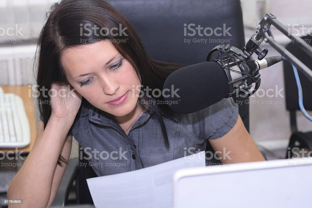 Preparation for announcing news stock photo