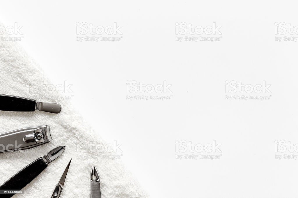 preparation for pedicure - tools on table top view stock photo