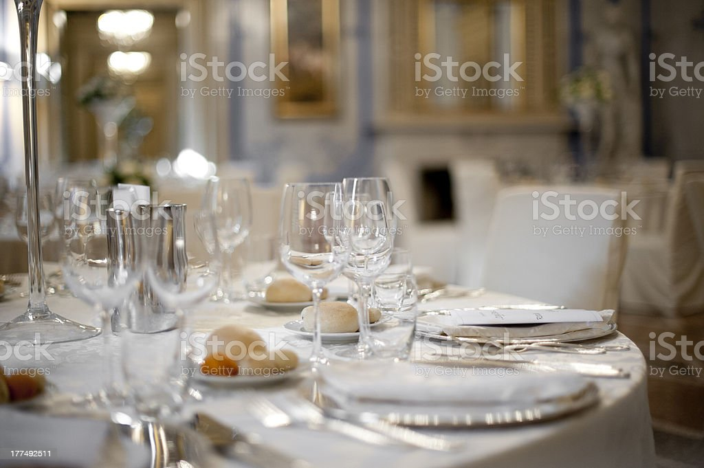 Preparation for wedding table royalty-free stock photo