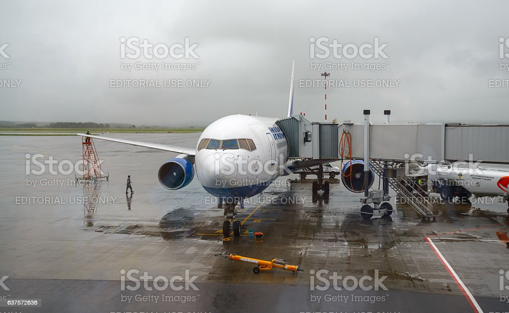 Preparation of aircraft for flight stock photo