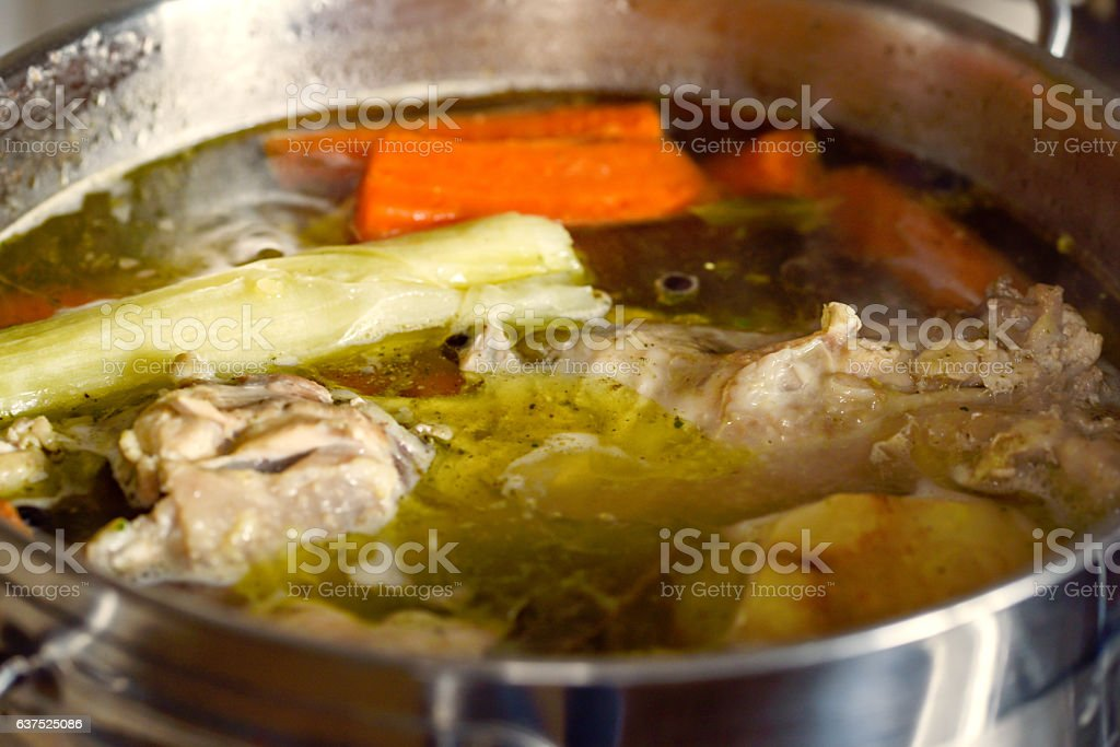 Preparation of chicken broth, soup stock photo