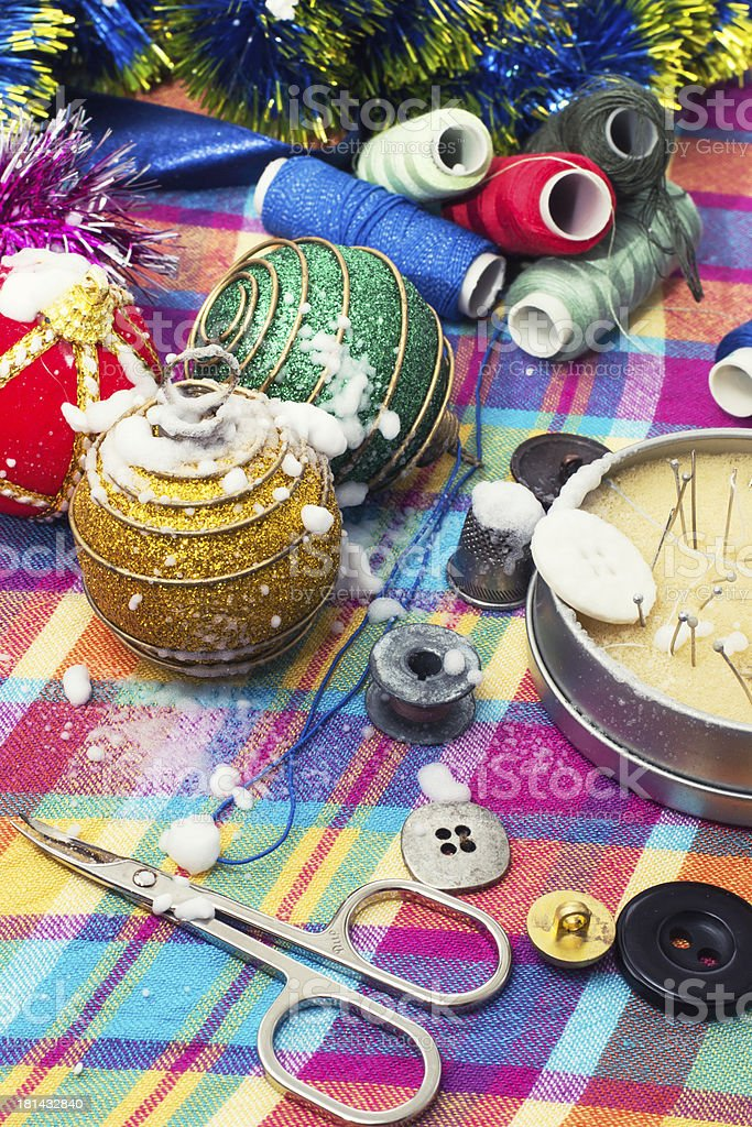 preparation of Christmas decorations for the holiday royalty-free stock photo
