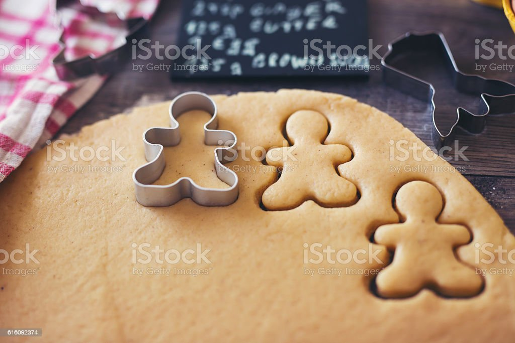 Preparation of gingerbread cookies stock photo